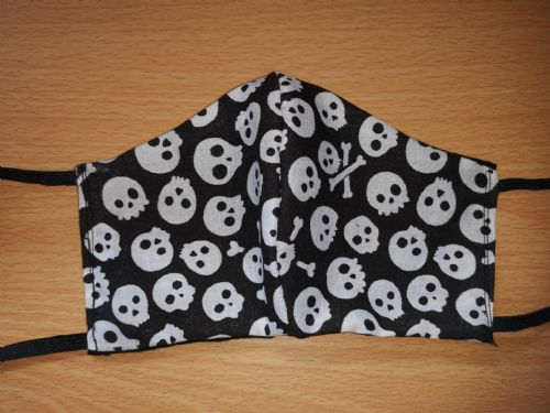 Handmade Breathable Eco Friendly Cotton Face Mask skull print Ribbon Ties Or Elastic (1)